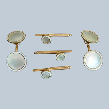 Carter Howe 14K Pale Gray MOP & Enamel 5 pc Cufflink & Stud Tuxedo Set