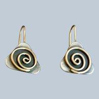 Gold & Sterling Vintage Mixed Metal Modernist Design Earrings