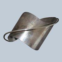 ED WIENER Modernist Sterling Silver Cuff Bracelet - 1948