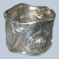 Antique Whiting Sterling Silver Iris Napkin Ring