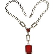 Art Deco Sterling Silver Carnelian Marcasite Necklace