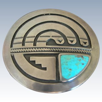 Vintage Hopi Sterling Silver Overlay Turquoise Pin Brooch with Snakes
