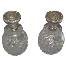 Pair of Shreve Sterling Silver Cut Glass Perfume / Cologne Bottles