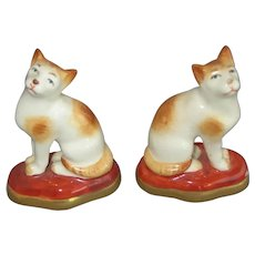 Pair of Old Signed Porcelain Miniature Cat Figures
