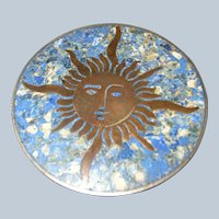 Signed Vintage Mexican Sun Inlay Pin Brooch