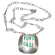 Modernist Sterling Silver Turquoise Pendant Necklace