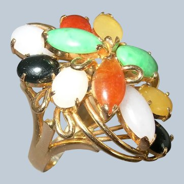 14K Yellow Gold Multi-Color Jade Jadeite Vintage Ring