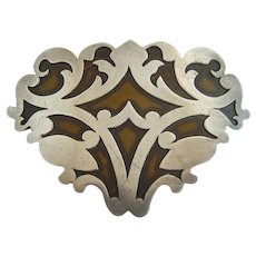 Large Heintz Sterling Silver Overlay Arts & Crafts Pin Brooch