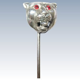 Antique Victorian Sterling Silver Lion Stickpin -Tongue Sticking Out