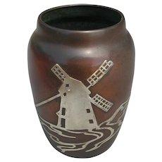 HEINTZ Arts & Crafts Sterling on Bronze Windmill Vase