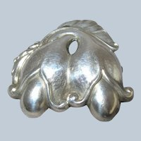 Early (1915-1930) GEORG JENSEN Sterling Silver Double Blossom Pin Brooch #210