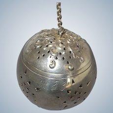 Antique Sterling Silver Watrous Repousse Tea Ball ~ pre-1898