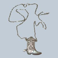 Vintage Western Cowboy Boot with Spur Sterling Silver Necklace