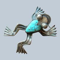 Vintage Navajo Turquoise & Sterling Silver Frog Pin