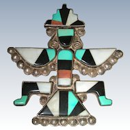 Large Old Zuni Mosaic Inlay Sterling Silver Knifewing Pin