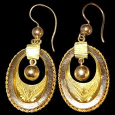 Victorian / Edwardian GF Gold Filled Articulated Earrings
