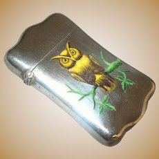 Antique Enamel Sterling Silver Owl Match Safe - circa 1900