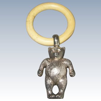 Antique Sterling Silver Teddy Bear Rattle