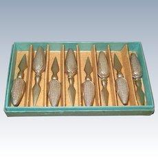 Sterling Silver Figural Corn Cob Holders - 8 in Original Box