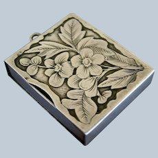 GORHAM Antique Sterling Silver Slide-Out Stamp Box Case Pendant