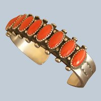 Vintage Navajo Heavy Gauge Sterling Silver Coral Row Cuff Bracelet Signed
