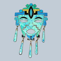 SIGNED Sterling Silver Enamel Mexican Face Mask Brooch Pendant