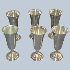 RANDAHL Sterling Silver Goblets - Set of SIX Cordials