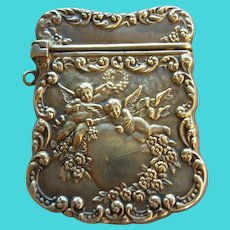 UNGER BROS Sterling Silver Heart & Cherub Stamp Case Box