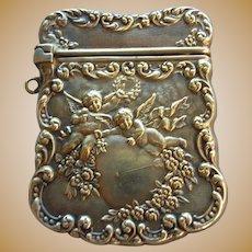UNGER BROS Sterling Silver Heart & Cherub Stamp Case Box