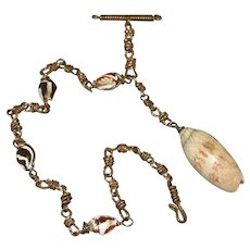 Victorian Watch Chain with Sea Shells & Sea Shell Fob