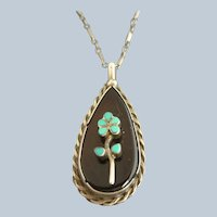 Vintage Sterling Silver Turquoise Flower Pendant and Chain