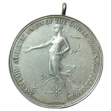 Antique Sterling Silver 1888  Sports Medal Pendant