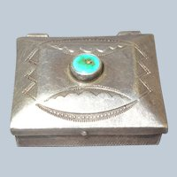 Native American Sterling Silver Turquoise Stampwork Pillbox