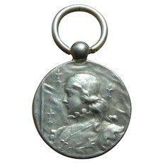Unger Bros Art Nouveau Sterling Silver Joan of Arc Watch Fob Pendant