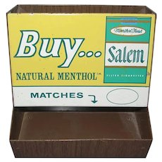 Salem Cigarette Tobacco Tin Store Display Advertising Match Holder