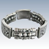 Pre Eagle Taxco Sterling Silver Mexican Bracelet - 1940's