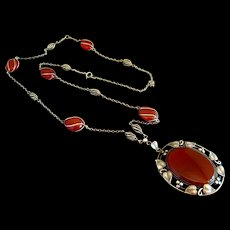 Arts & Crafts Sterling Silver Carnelian Necklace