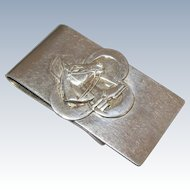 Vintage Money Clip Sterling Silver Equestrian Horse & Horseshoe