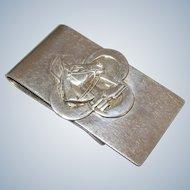 Vintage Money Clip Sterling Silver Equestrian Horse & Horseshoe