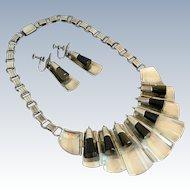Modernist FAR FAN Sterling Silver & Obsidian Bib Necklace / Earrings