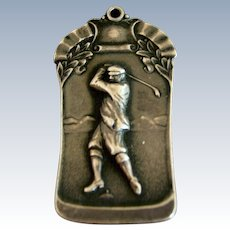 Antique Sterling Silver Golf Fob Tag ~ c. 1910