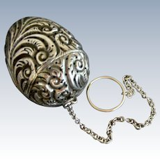 Large Repousse Egg Shaped Sterling Silver Cottle Tea Ball