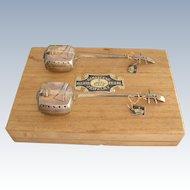 Vintage Japanese Shamisen Sterling Silver Salt & Pepper Shakers - Orig Box & Tags