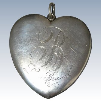 HUGE Sterling Silver Heart Locket - Yale - circa 1910