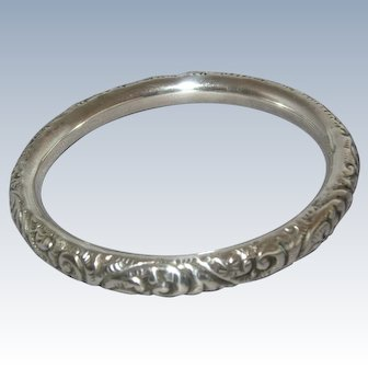 Victorian Sterling Silver Repousse Hollow Bangle Bracelet - c. 1900