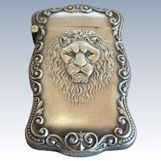 Magnificent Antique Sterling Silver Lion's Head Match Safe