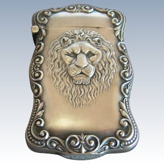 Magnificent Antique Sterling Silver Lion's Head Match Safe
