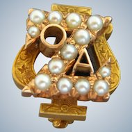 Antique 14K Gold ZETA PSI Fraternity Pin Seed Pearls - 1910