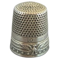 Antique Eagle, Stars & Stripes Sterling Silver KMD Ketchum & McDougall Thimble