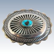 Vintage Navajo Silver & Turquoise Concho Pin Brooch